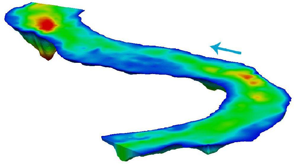 Батиметрическая карта реки при определении рельефа и глубин для рыбалки