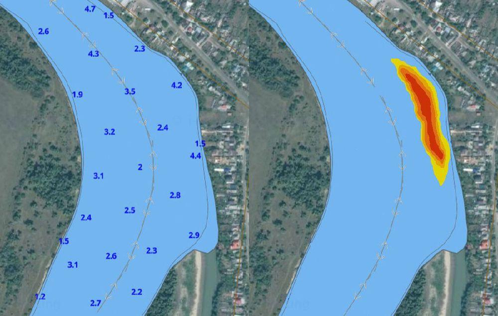 Ямы и глубины рыболовного места на реке Кубань в Краснодарском крае